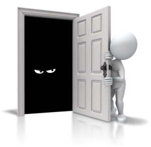 figure looks brave at a monster which is hiding behind a door renewed-mindset.com helps to fight against your inner monsters