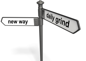 road sign renewed-mindset.com helps to make the rigth decision between new way or daily grind